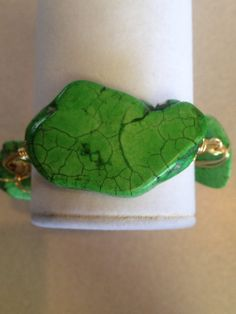 Handmade wire wrapped green stone bracelet  on Etsy, $22.00