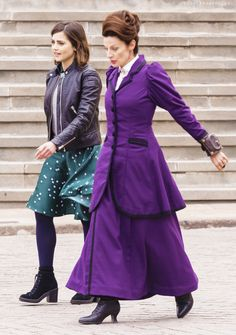 Jenna Coleman and Michelle Gomez on set filming Doctor Who Series 9 in Spain (27.02.15) ♥♥