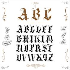 Fancy Old Fonts Lovely Old English Letters Tattoo Old English Tattoo Pin Fancy Fonts Tattoo Lettering Alphabet, Tattoo Lettering Styles, Graffiti Lettering Fonts, Chicano Lettering, Hand Lettering Fonts, Lettering Design, Caligraphy Alphabet, Letter Fonts, Old English Alphabet