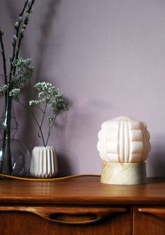 Art Deco table lamp with wooden lamp base soft by GemsOfLightLamps