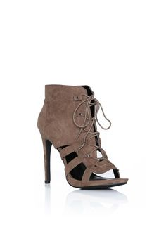 Evelyn Suede Lace Up Heel in Taupe