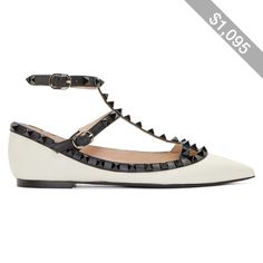 Valentino Black and White Rockstud Cage Flats