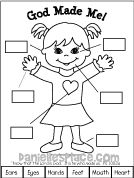 God Made Me Girl Printable from www. - God Made Me Girl Printable from www. Toddler Sunday School, Sunday School Activities, Church Activities, Bible Activities, Sunday School Crafts, Color Activities, Bible Story Crafts, Bible School Crafts, Bible Crafts For Kids