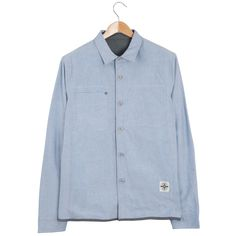 Roamers & Seekers Lumber Reversible Blue & Grey Overshirt: Lumber will see you through all seasons. This reversible shirt has a soft flannel inside, with a classic oxford weave fabric outside, complete with functional pockets both sides. A great versatile style for your winter wardrobe.  Outside: Printed stripe on body, chest patch pockets, side seam pockets, branded buttons and RS monogram embroidery on pocket.  Inside: Overlaid patch pocket with anti silver rivet detail, profile stitch…
