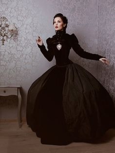 Resplendently gorgeous. #goth #gothic #costume #clothing #Victorian #Halloween #black #dress