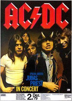 AC/DC, Judas Priest - 1979 Nuremberg, Germany Concert Poster (with Bon Scott) Ac Dc, Bon Scott, Tour Posters, Band Posters, Music Posters, Guitar Posters, Judas Priest, Poster A3, El Rock And Roll