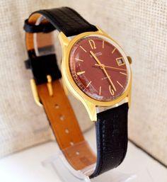Men's Watch Vintage Gold-plated 1970s USSR Wostok, Rare Luxury Soviet Watch #Wostok #LuxuryDressStyles #Wostok #Luxury #Gold #watch #gifthim #forhim #vintage