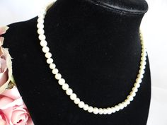 Vintage Cream Faux Pearl Choker Necklace with Rhinestone Accented Sterling Silver Clasp – Classic and Elegant
