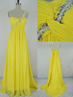 2013 Style A-line One Shoulder Ruffles Sleeveless Floor-length Chiffon Prom Dresses / Evening Dresses. $139.00, via Etsy.