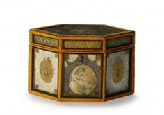 A George III inlaid fruitwood parcel-gilt rolled-paper hexagonal form tea caddy. #SothebysShowhouse #treylafave