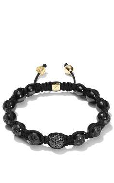 Shamballa Jewels Carved Ceramic Shamballa Bracelet With Black Diamond Ball