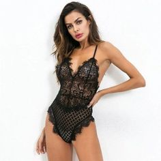 Sexy Lace Bodysuit Women Bodycon Jumpsuit Summer Cut Out Rompers Club Womensrricdress Bodysuit Fashion, Bodysuit Lingerie, Lace Bodysuit, Bodycon Jumpsuit, Jumpsuit Dress, Women Lingerie, Sexy Lingerie, Body Suit Outfits, Jumpsuits For Women
