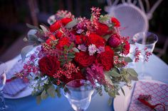 red centerpiece | weddings by color romantic red reception centerpiece | OneWed.com