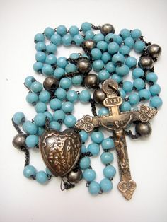"RARE Huge 40"" French 10 Decade Rosary Opalin Beads 19th C with Heart Connector 