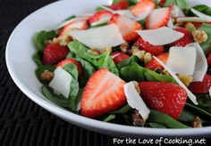 Spinach Salad with Strawberry, Walnut, and Parmesan Shavings | For the Love of Cooking