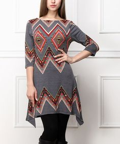 Look what I found on #zulily! Gray & Red Chevron Sidetail Tunic #zulilyfinds