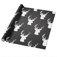 Reindeer Antler Vintage Chalkboard Rustic Pattern Wrapping Paper - pattern sample design template diy cyo customize
