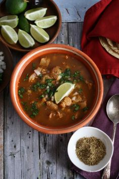 Menudo (Red Chile Tripe Soup) via www.girlichef.com
