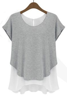Grey Plain False 2-in-1 Short Sleeve Chiffon T-Shirt