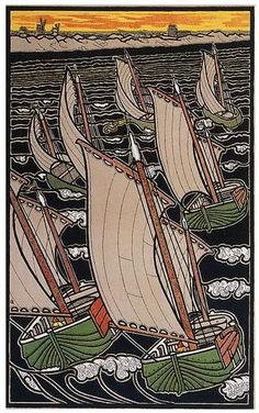 Gisbert Combz • Sail Boats • Circa 1896 Gisbert Combaz (1861-1941) was one of the leading Belgian practitioners of the Art  Nouv...