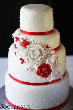 white and red wedding cake (Best Wedding and Engagement Rings at http://www.brilliance.com)