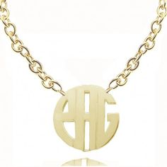 "Monogram Initials Necklace 1.5"" w/ 24K Gold Overlay $55"