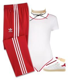 """""""Rouge"""" by oh-aurora ❤ liked on Polyvore featuring adidas Originals, Boohoo, J.Crew, adidas, Charlotte Russe and NYX"""