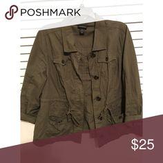LANE BRYANT army green lightweight cargo jacket Gently worn army green cargo jacket from LANE BRYANT. SIZE 20 - very comfy and stylish! Lane Bryant Jackets & Coats Utility Jackets