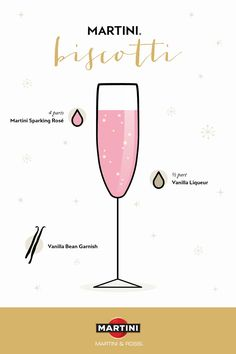 Try this simple, yet elegant holiday cocktail at your next party. To make the MARTINI Biscotti cocktail, combine 4 parts MARTINI Sparkling Rosé with ½ part vanilla liqueur. Garnish with a vanilla bean and enjoy! Wine Cocktails, Holiday Cocktails, Cocktail Drinks, Vanilla Liqueur, Sparkling Wine, Winter Holidays, Biscotti, Martini, Finding Yourself