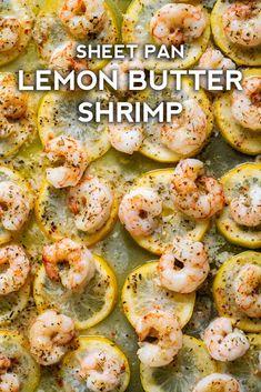 Sheet Pan Lemon Butter Shrimp - an easy weeknight dinner! Sheet Pan Lemon Butter Shrimp - an easy weeknight dinner! Chef Recipes, Fish Recipes, Seafood Recipes, Cooking Recipes, Healthy Recipes, Easy Shrimp Recipes, Soup Recipes, Recipies, Zoodle Recipes