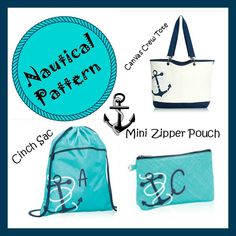 Thirty-One Gifts - New Anchor pattern in. Perfect for a cruise. #ThirtyOneGifts #ThirtyOne #JewellByThirtyOne #Monogramming #Organization #FebruarySpecial #AnchorsAway