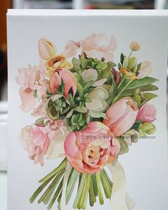 Watercolor And Ink, Watercolour Painting, Watercolor Flowers, Floral Drawing, Colored Pencils, Flower Art, Floral Wreath, Illustration Art, Drawings