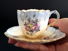 Antique Demitasse Teacup and Saucer 1880's by BarnKittyTreasures