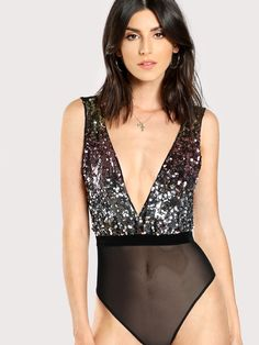 Cheap bodysuit women, Buy Quality bodysuit women sexy directly from China women bodysuit Suppliers: COLROVIE Contrast Sequin Plunging Cami Bodysuit 2017 Deep V Neck Sleeveless Mid Waist Sheer Bodysuit Women Sexy Bodysuit Sequin Bodysuit, Bodysuit Blouse, Plunge Bodysuit, V Neck Bodysuit, Womens Bodysuit, Black Bodysuit, Bodysuit Fashion, Burgundy Bodysuit, Sexy Women