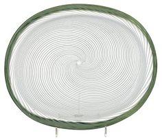 A Venini glass dish A Fili, probably by Carlo Scarpa, Murano.  Acid etched venini murano MADE IN ITALY. Length 26,5 cm.