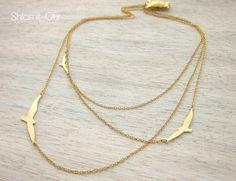 Three Layered Flying Birds Necklace, signature necklace, woodland jewelry by shlomitofir on Etsy https://www.etsy.com/listing/64790078/three-layered-flying-birds-necklace
