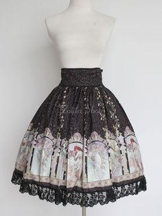Jupe lolita magnifique rétro synthétique impression - Lolitashow.com