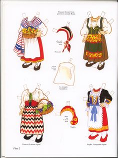 Italian Girl and Boy Paper Dolls (Sofi & Ernesta) / Kathy Allert, Dover of Italian Christmas Traditions, Paper Dolls Clothing, Italian Outfits, Italian Clothing, Costumes Around The World, World Thinking Day, Arts And Crafts, Paper Crafts, Vintage Paper Dolls