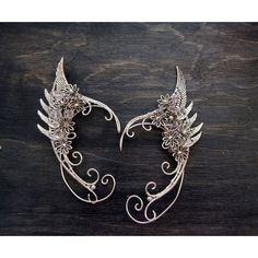 Angel wings. Elven ears (a pair Earcuffs, Elf ears, fantasy decoration... (1 265 UAH) ❤ liked on Polyvore featuring jewelry, earrings, hoop earrings, angel wing earrings and angel wing jewelry
