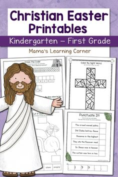 Christian Easter Worksheets for Kindergarten and First Grade! Includes 16 math and literacy worksheets, each with a Jesus-centered theme.