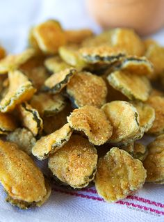 Fried Pickles...these cornmeal dusted little nuggets of deliciousness are the bomb...dip in homemade ranch dressing