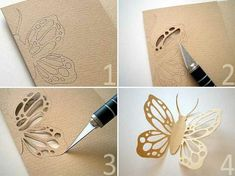How to carve a symmetrical butterfly with a lacy pattern