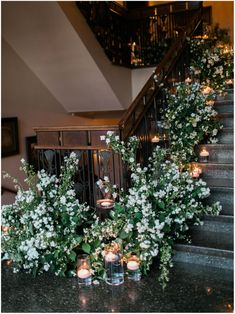 8 Best Ways to Decorate Wedding Stairs greenery and florals wedd… – Floating Candles İdeas. Wedding Stairs, Wedding Entrance, Entrance Decor, Wedding Ceremony, Wedding Staircase Decoration, Reception, Floral Wedding, Wedding Flowers, Floating Candles