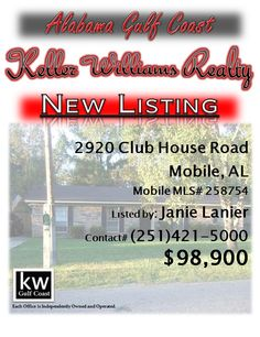 2920 Club House Road, Mobile, AL...MLS# 258754...$98,900...Possible short sale. Relocating seller moving to be closer to family. Bring all offers. Pride of ownership in this well kept house. Fantastic lap pool. Very motivate seller. Call Janie Lanier at 251-421-5000 for a personal viewing.
