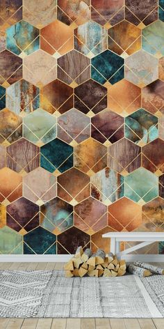 heim ideen Natural Hexagons And Diamonds wall mural from happywall Geometric Wallpaper Metallic, Honeycomb Wallpaper, Diamond Wallpaper, Art Deco Wallpaper, Pattern Wallpaper, Wallpaper Ideas, Mid Century Modern Wallpaper, Brewster Wallpaper, Geometric Nature