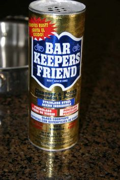 "bar keepers friend - ""This is the real deal. I have a stand up shower with a fiberglass bottom that has been IMPOSSIBLE to clean. No matter what I tried it still looked gross. A housekeeper told me about this stuff - I tried it and it look brand new, gleaming white!!!! Bonus is it doesn't smell like a cleaner it chemical."""