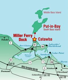 How do I get to the Miller Ferry Dock? Ferries depart Catawba, GPS: 5174 E. Water St., Port Clinton, Ohio