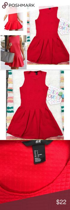 """VGUC H&M Bright Red Drop-waist Dress Gorgeous bright red dress from H&M in size small. Stretch to the dress so probably can accommodate a medium too. In a nice thick scuba like material with hidden side zipper, with raised square pattern. No major flaws. Measure about 35"""" length, 13.5"""" waist, 20"""" from waist to bottom, 15.5"""" pit to pit.❌Models' pic is similar styles and is for visual aid only. Actual dress are the last five pics above. Thank you‼️ ❌No trades or modeling. Open to reasonable…"""