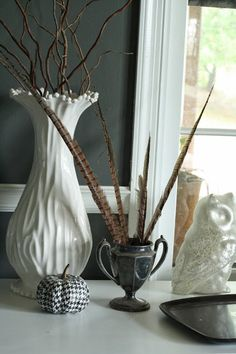 Modern and Fresh Fall Home Tour  black and white with pheasant feathers