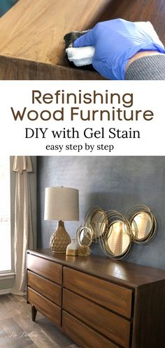 When your wood furniture needs an update. refinish it with gel stain. My step by step process will have you refinishing your furniture like a DIY pro in no time at all. Stripping Wood Furniture, Furniture Repair, Diy Furniture Projects, Solid Wood Furniture, Refurbished Furniture, Paint Furniture, Cool Furniture, Diy Projects, Repurposed Furniture
